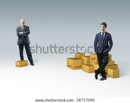 two different ages businessman and 3d box