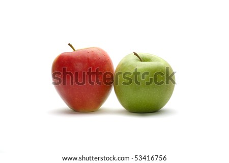 Two different apples on the white background