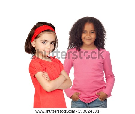 Two different beautiful little girls isolated on white background - stock photo