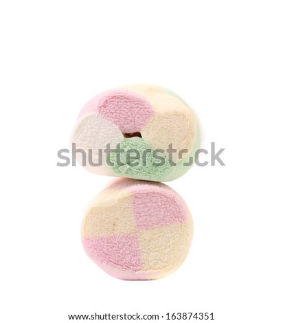 Two different colorful marshmallow. Isolated on a white background.