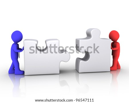 Two different 3d businessmen are pushing puzzle pieces - stock photo