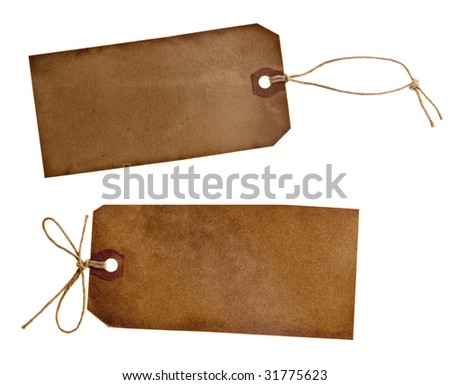 two different grunge paper tags, isolated on white - stock photo
