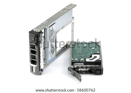 Two different hard drives assembled in hot-swappable carriers: native 2.5-inch drive and another 2.5-inch hard drive assembled in a 3.5-inch carrier (hybrid hard drive). Isolated on white. - stock photo