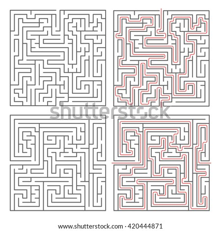 Two different mazes of medium complexity on white and solution with red paths - stock photo
