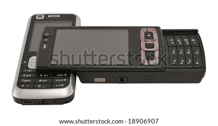 Two different mobile phones isolated on white.