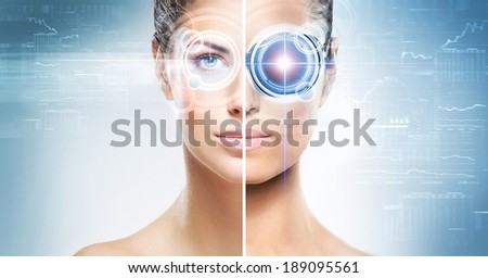 Two different pictures of women with the laser hologram on their eyes (collage about eye scanning technology and virtual reality) - stock photo