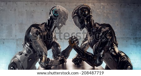 Two different robotic models in arm wrestling duel. 3d render / Robotic Arm Wrestling - stock photo