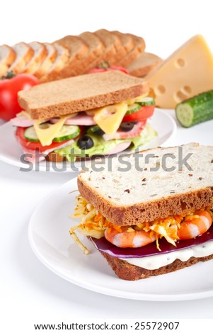 two different sandwiches with ingredients