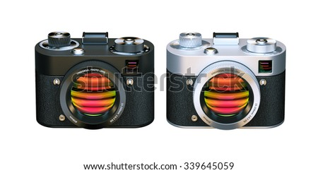 Two Digital Photo cameras. 3D Icon isolated on white background. 3D render