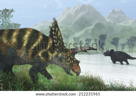 Two dinosaurs, a Coahuilaceratops and a Diceratops out wandering on a hazy prehistoric afternoon. - stock photo