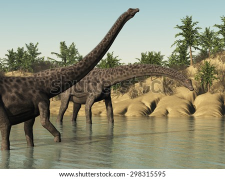 Two diplodocus dinosaurs taking an afternoon stroll - 3d render. - stock photo