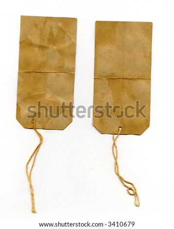 two dirty worn vintage labels - stock photo