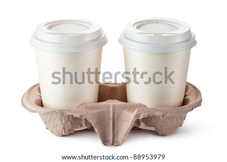 Two disposable coffee cups in cardboard holder. Isolated on a white. - stock photo