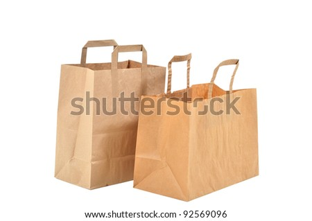 two disposable shopping bags