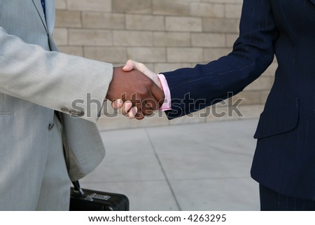 Two diverse business people shaking hands outdoors - stock photo
