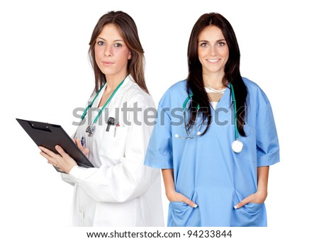 Two doctor women isolated on a over white background - stock photo