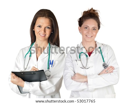 Two doctor women over a white background - stock photo