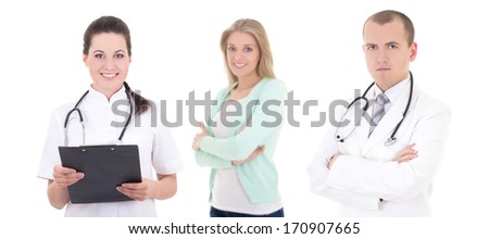 two doctors and patient isolated on white background - stock photo