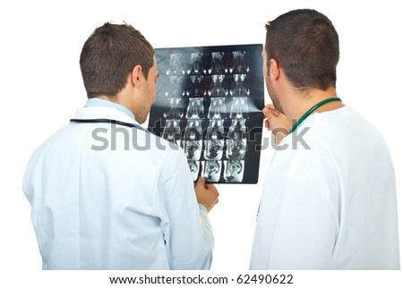 Two doctors men review magnetic resonance imaging and having conversation isolated on white background
