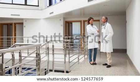 Two doctors talking to each other in the corridor of the hospital