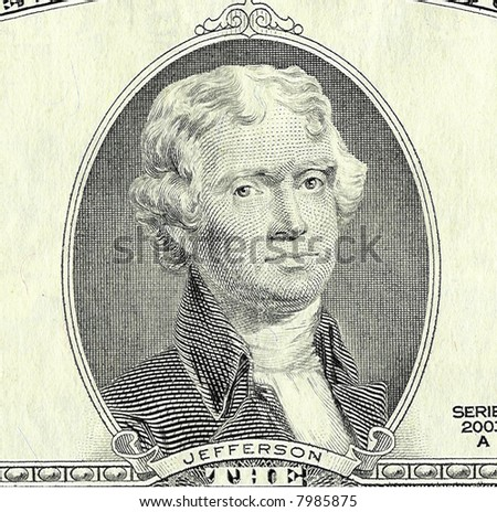 Two-dollar banknote, featuring a portrait of President Thomas Jefferson - stock photo