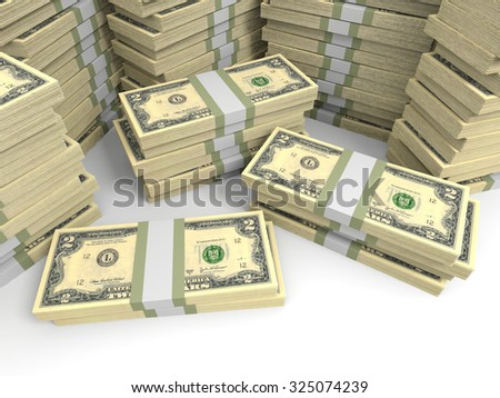 Two dollar banknotes background. 3D illustration.