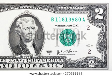 Two dollar bill issued in 2003 to commemorate the bicentenary U.S. - stock photo