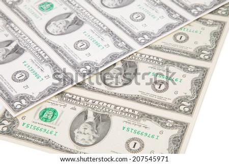 Two dollar bills. Close up. Whole background.