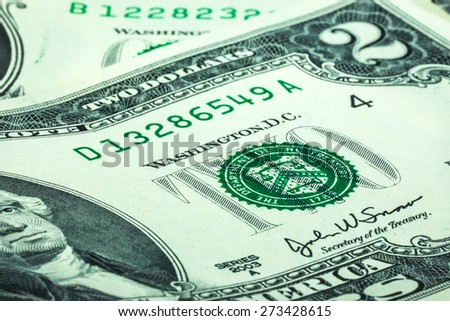 two dollars banknote close up - stock photo