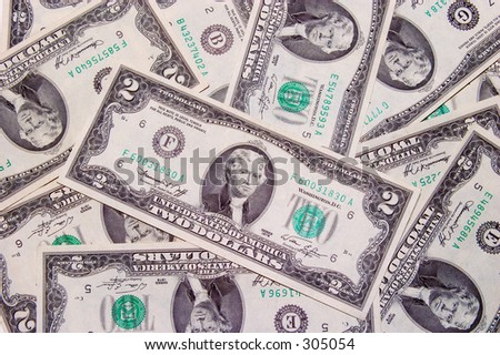 Two dollars bill - stock photo