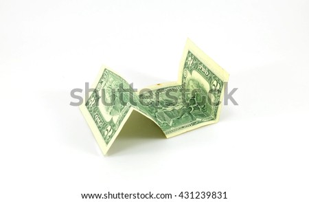 Two dollars on white background