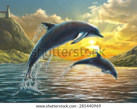 Two dolphins jumping out of sea over a beautiful sunset. Digital painting. - stock photo