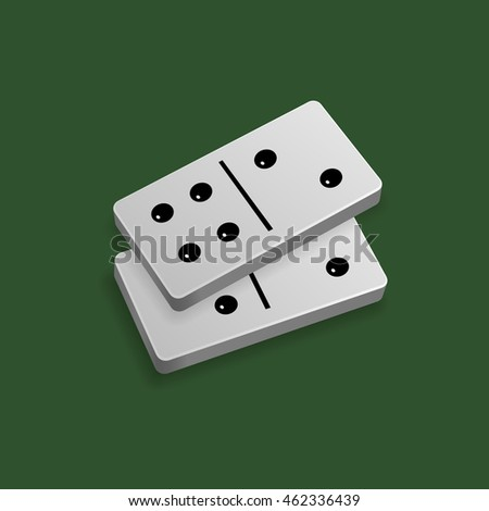 Two domino blocks. Number six. Isolated on green background.