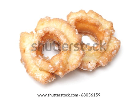 Two donuts isolated on the white background - stock photo