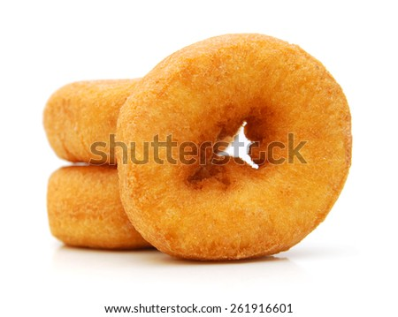 Two donuts on a white background - stock photo