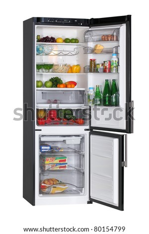 Two door black refrigerator isolated on white