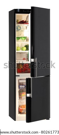 Two door black refrigerator isolated on white - stock photo