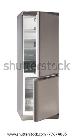 Two door INOX refrigerator isolated on white - stock photo