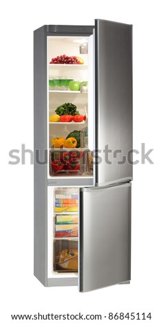 Two door INOX refrigerator isolated on white - stock photo