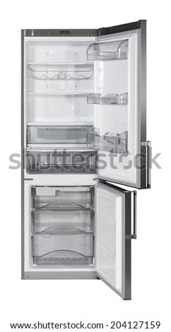Two door INOX refrigerator isolated on white with clipping path - stock photo