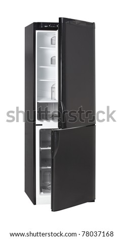 Two door shiny black refrigerator isolated on white - stock photo