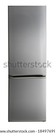 Two door stainless steel refrigerator isolated on white - stock photo