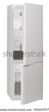 Two door white No Frost refrigerator isolated on white background. - stock photo