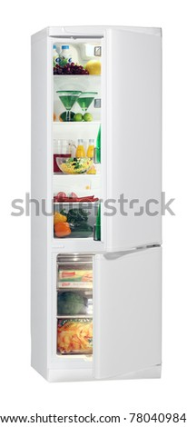 Two door white refrigerator isolated on white - stock photo