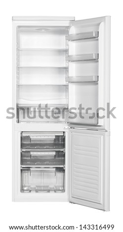 Two door white refrigerator isolated on white background. - stock photo