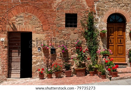 two doors in monticchiello - stock photo