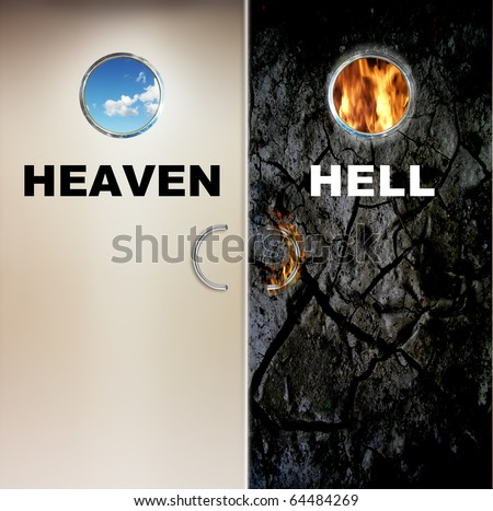 two doors to heaven and hell - stock photo