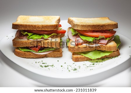 Two double sandwiches on white plate.  - stock photo
