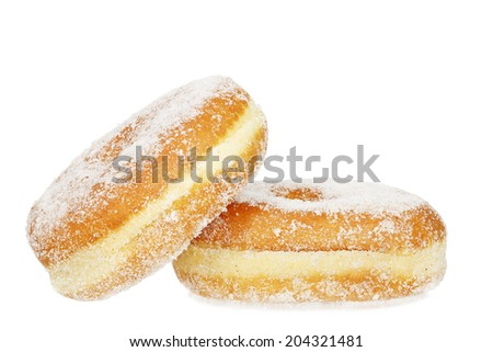 two doughnuts isolated on white - stock photo