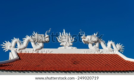 Two dragons sitting on the roof - stock photo